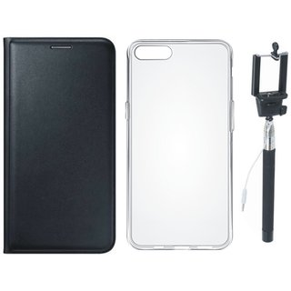 J7 Max Stylish Leather Cover with Silicon Back Cover and Selfie Stick by Vivacious ( Black )