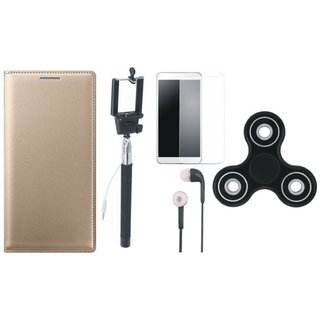 Oppo A71 Premium Leather Cover with Free Spinner, Selfie Stick, Tempered Glass and Earphones (Gold ) by Vivacious