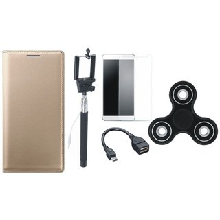 Redmi 5A Stylish Leather Cover with Free Spinner, Selfie Stick, Tempered Glass and OTG Cable by Vivacious ( Gold )