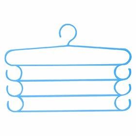 AVMART (Pack of 1) Multipurpose Plastic 4 Layer Pants Hanging Space Saving Cloth Wardrobe Hanger Random Color