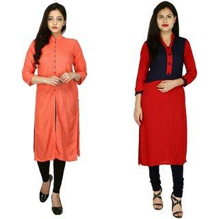 Fashion Senora Combo Stitched kurti Collection  Beige Kurti with front Slit Kurti  Red Blue Kurti with Choli Design Kurti