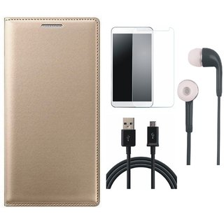 Moto G5 Leather Flip Cover with Earphones, Tempered Glass and USB Cable (Gold ) by Vivacious