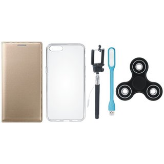 J5 Prime Stylish Leather Cover with Spinner, Silicon Back Cover, Selfie Stick and USB LED Light by Vivacious ( Gold )