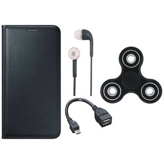 Moto G5 Stylish Leather Cover with Spinner, Earphones and OTG Cable by Vivacious ( Black )