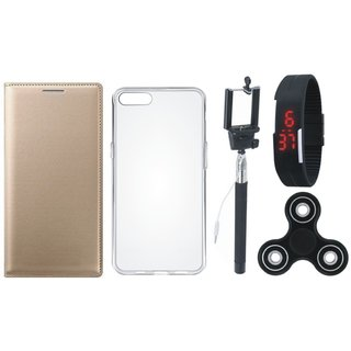 Moto G5 Premium Leather Cover with Spinner, Silicon Back Cover, Selfie Stick and Digtal Watch by Vivacious ( Gold )