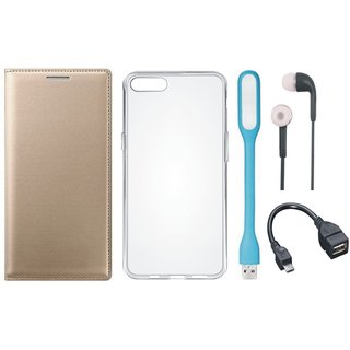 Moto G5 Stylish Leather Cover with Silicon Back Cover, Earphones, USB LED Light and OTG Cable by Vivacious ( Gold )