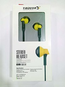 YINDU Stereo Headset YD-J1 and 3.5 MM Steel Jack with Microphone (yellow  Black))