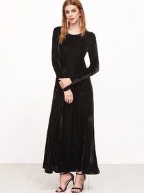 Code Yellow Women's Black Plain Velvet Winter Dress