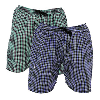 BMK Checkered Cotton Mix Boxer ShortsMulticolored Pack of 2