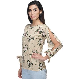 Omadam Beige Floral Woman Casual Ladies Slit Sleeve Top