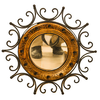 Phirk Craft Wooden Iron Wall Decorative Mirror
