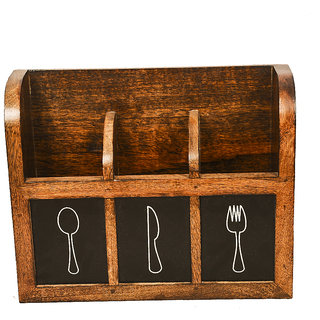 Phirk Craft Wooden Cutlery Holder For Kitchen Dining