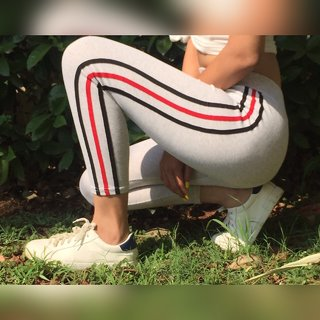 Code Yellow Women's Light Grey Side Stripes Black-Red-Black Stretchable Jeggings Yoga Gym Wear