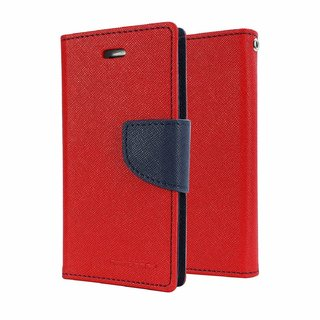 HTC Desire 526 Flip Cover by Leather Mercury Front & Back Flip Cover  - Red