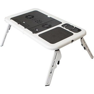 AVMART Portable Folding Laptop Desk Stand Laptop Table with Adjustable Legs 2 Cooling Fans and USB Port Multi-Function