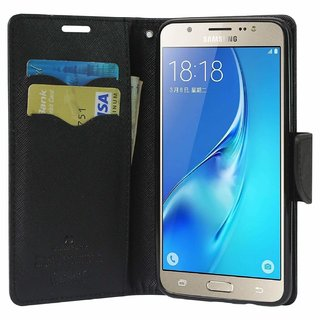 Micromax Canvas Selfie 2 Q340 Flip Cover by Leather Mercury Front  Back Flip Cover  - Black