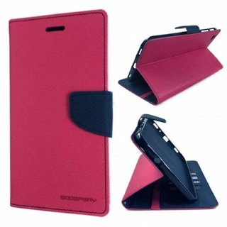 Micromax Canvas Selfie 2 Q340 Flip Cover by Leather Mercury Front  Back Flip Cover  - Pink