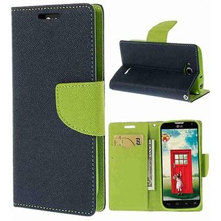 Micromax Bolt Q335 Flip Cover by Leather Mercury Front  Back Flip Cover  - Blue