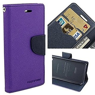 Micromax Bolt Q335 Flip Cover by Leather Mercury Front  Back Flip Cover  - Purple