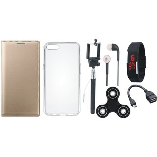 Moto G5 Plus Flip Cover with Spinner, Silicon Back Cover, Selfie Stick, Digtal Watch, Earphones and OTG Cable by Vivacious ( Gold )