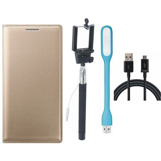 Moto G5 Plus Premium Leather Cover with Selfie Stick, USB LED Light and USB Cable by Vivacious ( Gold )