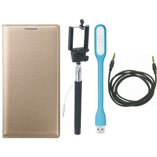 Moto G5 Plus Premium Leather Cover with Selfie Stick, USB LED Light and AUX Cable by Vivacious ( Gold )