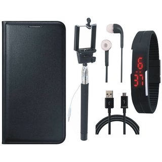 J5 Prime Premium Leather Cover with Selfie Stick, Digtal Watch, Earphones and USB Cable by Vivacious ( Black )