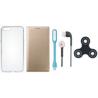 Moto G5 Plus Flip Cover with Spinner, Silicon Back Cover, Earphones and USB LED Light by Vivacious ( Gold )