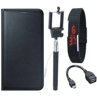 J5 Prime Premium Leather Cover with Selfie Stick, Digtal Watch and OTG Cable by Vivacious ( Black )