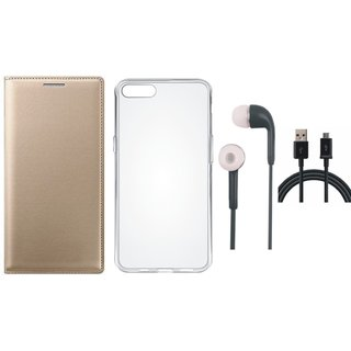 Moto G5 Plus Premium Leather Cover with Silicon Back Cover, Earphones and USB Cable by Vivacious ( Gold )