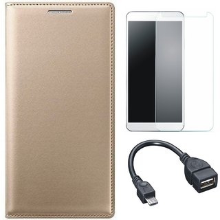 J5 Prime Premium Leather Cover with Tempered Glass and OTG Cable by Vivacious ( Gold )
