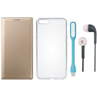 Moto G5 Plus Premium Leather Cover with Silicon Back Cover, Earphones and USB LED Light by Vivacious ( Gold )