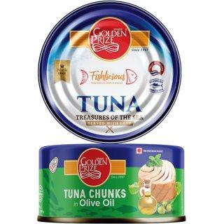 Golden Prize Tuna Chunk In Extra Vigin Olive Oil 185Gms