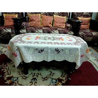 Center Table Cover  4 Seater Floral Design ( Size  60 inch ( 152.4 cm ) x40 inch ( 101.6 cm ) Light Brown Color By AH