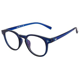 Ivonne Unisex Anti-Glare Blue Full Rim Round Eyeglass Frame