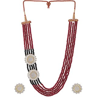 Voylla beaded theme necklace set adorned with CZ For Women