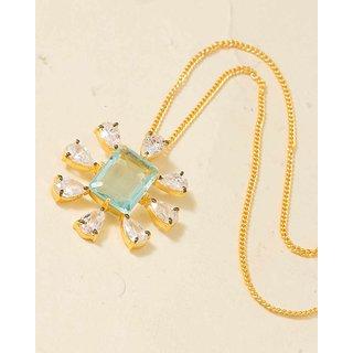 Voylla Blue Topaz & Sparkling CZ Studded Golden Necklace  For Women
