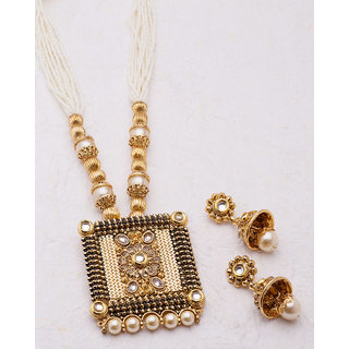 Voylla Ethnic Necklace Set with Pearl Embellishments For Women