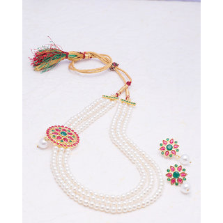 Voylla Dainty Necklace Set with Pearls For Women