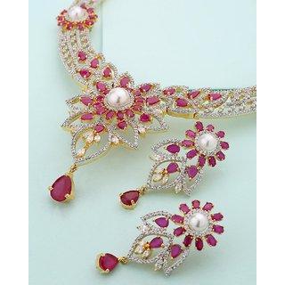 Voylla Floral Design Centerpiece Necklace Set For Women