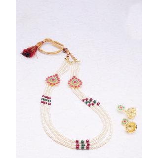 Voylla Pearl and Gem Embellished Necklace Set For Women