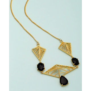Voylla Black Stone Studded Modern Necklace  For Women