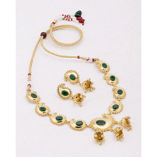 Voylla Rajputi Style Ethnic Gold Plated Necklace Set from Jhankar For Women