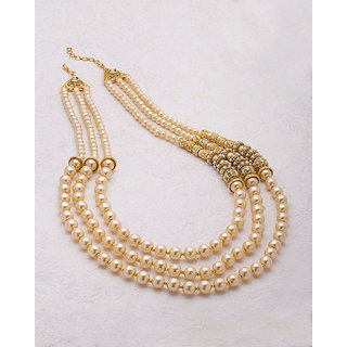 Voylla Gold Plated Pearl Raani Haar Pearl Necklace For Women