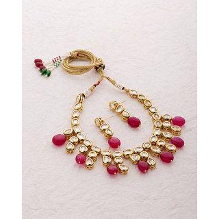 Voylla Elegant Red Stone Necklace Set from Nazaakat For Women