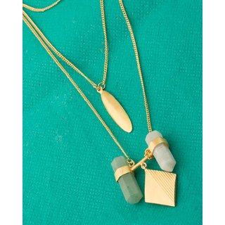 Voylla Green-White Stones Adorned Statement Necklace in Gold Tone For Women