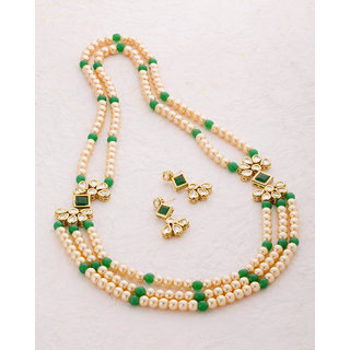 Voylla Nazaakat Gold Plated Green Pearl Rani Haar For Women