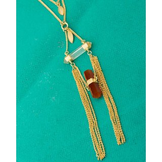 Voylla Red-White Stones Adorned Gold Toned Necklace  For Women