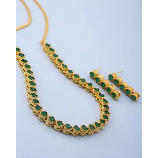 Voylla Green Stones Studded Necklace Set For Women For Women
