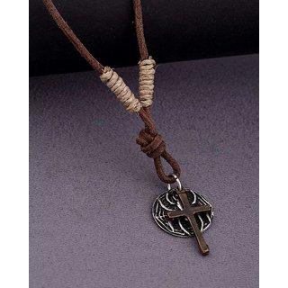 Dare by Voylla Motorcycle Diaries Cross Pendant Necklace For Men